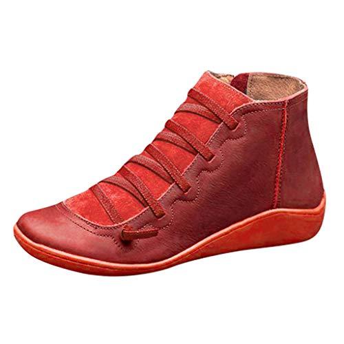 Damen Stiefeletten Flache Gewölbte Unterstützung Lässige Stiefel Niedriger Absatz Kunstleder Elastische Seitlicher Reißverschluss Herbst Schuhe(Rot,36 EU)