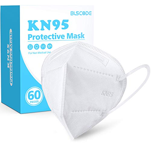 KN95 Face Mask 60 Pack, BLScode White KN95 Mask Individually Wrapped, 5-Layer KN95 Face Mask with Comfortable Elastic Ear Loops, Filter Efficiency≥95% Breathable Cup Mask