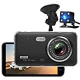 MILEXING Dash Cam, 1080p Front and Rear Dual Dash Cmer, Full HD 170° Wide Angle Backup Camera with G-Sensor Parking Monitor Loop Recording Motion Detection Reversing Assistance
