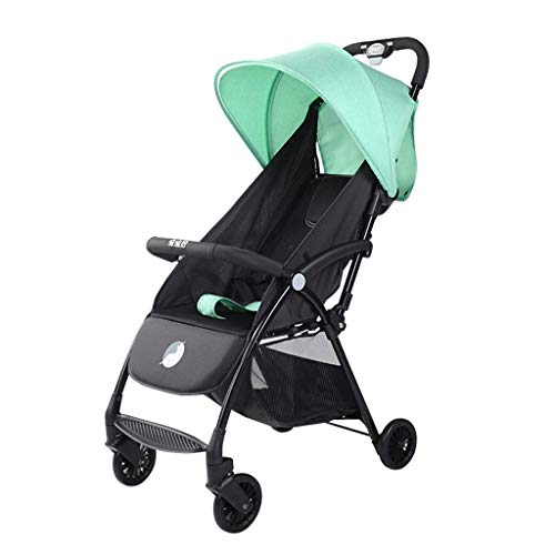 Cochecitos para bebés Conveniencia, cochecito ligero con marco de aluminio, área de asiento grande, reclinación de 4 posiciones, silla de ruedas para viajes y más (Color : Green)