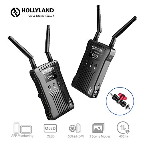 Hollyland Mars 400S Wireless SDI HDMI Video Transmission System, iOS & Android App Monitoring with OLED Display, 400ft 3 Scene Modes for Vlog, Live Streaming, Multi-Camera Production