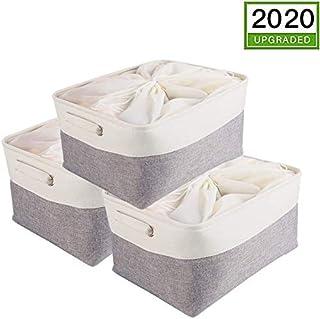 Mangata Extra Grande Cajas de almacenaje Set de 3, cestas de almacenaje, cestos almacenaje de Tela para Armario, estanteria, Juguetes (Plegable,)