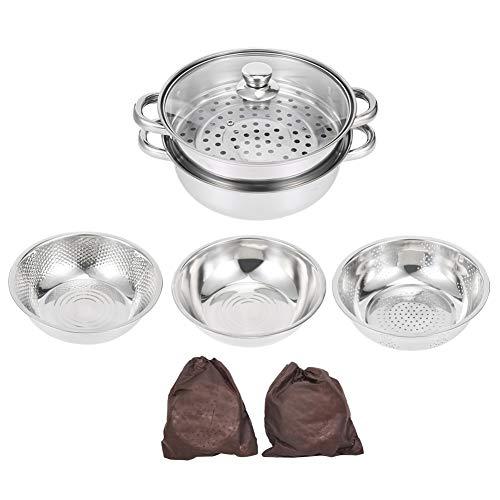 Juego de ollas, 4 piezas/juego Ollas de acero inoxidable Tamiz de arroz multifuncional Kit de ollas al vapor Suministros de cocina