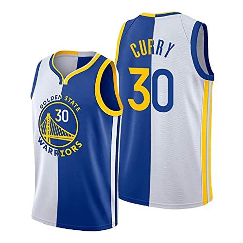 QPY Curry # 30 White Blue Split Jersey, Warriors de los Hombres Camiseta de Baloncesto, Swingman Split Jersey (S-XXL) XL