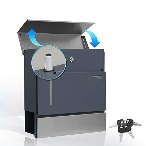 Briefkasten Anthrazit mit Zeitungsrolle, Wetterfest Wandbriefkasten mit Hydraulikstange, sanft close Briefkästen mit A4 Einwurf-Format und Namensschild, 37x 10,5x 36,5cm inkl. 4 Schlüssel