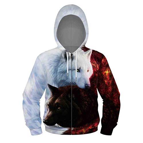 Leezeshaw Teenager Jungen Mädchen 3D Galaxy Geometrischer Löwe Wolf Druck Reißverschluss Pullover Hoodies Gemusterte Sweatshirts Jacke mit Taschen S-XL Gr. XL, Blutwolf