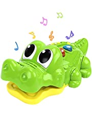 Nueplay Alligator Musical Toy for 1 2 3 Year Old Kids Babies Toddler Boy Girl Crawling Educational Learning Infant Toy with Music Light Game Modes 8 Songs Bonus 3 AA batteries
