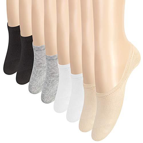 YSense 8 Paires Chaussettes Invisibles Antidérapantes, No Show Chaussettes Basses pour Chaussures de Bateau Baskets