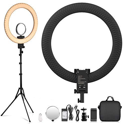 FOSITAN LED Ringlicht Kit 20-Zoll-Ringlicht, dimmbar 3200-5600K, mit Stativ, Telefonhalter, Spiegel, geeignet für Tik Tok YouTube, Blog, Makeup-Video