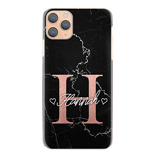 Personalisiert Initialen Harte Handy Hülle Für HTC One X10 (2017), Schwarz Marmor Aufdruck Mit Persönliche Pink Initialen und 2 Herz Name, Marmor Handy Cover