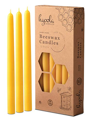 Hyoola 10 Inch Beeswax Taper Candles - 12 Pack - Handmade, All Natural, 100% Pure Unscented Bee Wax Candle - Tall, Decorative, Golden Yellow - 10 Hour Burn Time