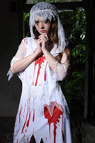 lightmhy BH-Hemden für Damen Kostüme für Erwachsene Halloween Ärztin Kostüm Krankenschwester Zombie Kostüm Zombie Kostüm Ghost Bride White One Size