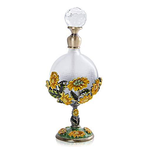 YU FENG Botella de perfume de cristal vacía de 8 ml con diseño de girasol incrustado de cuerpo plano, rellenable con fragancia de botella