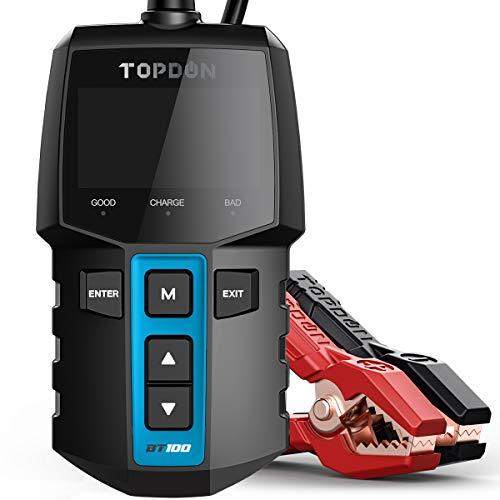 Car Battery Tester 12V Load Tester, TOPDON BT100 100-2000 CCA Automotive Alternator Tester Digital Auto Battery Analyzer Charging Cranking System Tester for Car Truck Motorcycle ATV SUV Boat Yacht