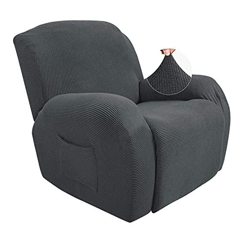 Jacquard Funda reclinable elástica, funda de Sofá de 1 plazas Juego de 4 piezas Funda reclinable para Funda para dos sillones adeslizante con bolsillos laterales adecuada para sillón reclinable