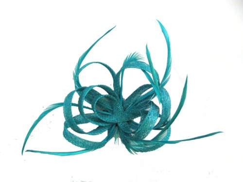 Lady Isla Fashion - Chapeau Bibi Filet de Hesse Bouclé avec Plumes sur Attache Bec et Broche. Disponible en Couleurs Vifs - Rose, Corail, Sarcelle, Vi