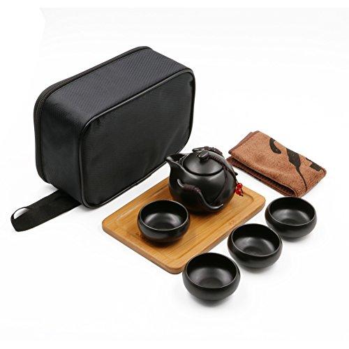 Tragbare Reise Kungfu Tee Set handgemachte chinesische/japanische Vintage, Porzellan-Teekanne und 4 Schüsseln & Bamboo Teetablett & Aufbewahrungstasche (Schwarz)