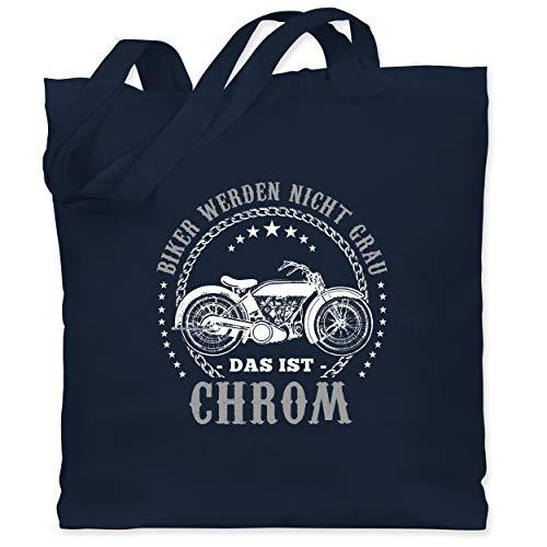 Shirtracer Motorräder - Biker werden nicht grau - Chrom - Unisize - Navy Blau - biker werden nicht grau - WM101 - Stoffbeutel aus Baumwolle Jutebeutel lange Henkel