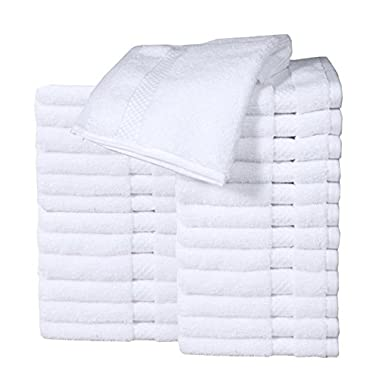 HomeLabels Luxury Cotton Washcloth Towel Set (24 Pack, White, 13 x13 ) Zero Twist, Multi-purpose Extra Soft Fingertip towels, Highly Absorbent Face Cloths, Machine Washable Sport, and Workout Towels