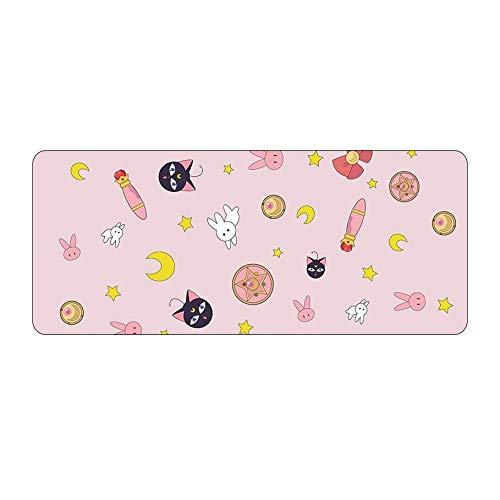 HUANGRONG rutschfest Anime Sailor Moon Big Mouse Pad Große Gummi Gaming Mat Geschwindigkeit Kawaii XL Mousepad Tastatur Verriegelungskante Otaku Computer Desk Pad (Color : Green, Size : 70x30 cm)