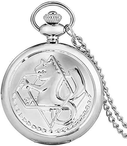 Reloj de plata colgante para hombre, relojes de bolsillo de cuarzo, collar de anime japonés, regalo para niños, collar retro, reloj Fob