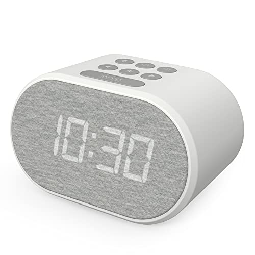 Alarm Clock Bedside Non Ticking LED Backlit Alarm Clock with USB Charger & FM Radio, 5 Step Dimmable Display - Mains Powered with Battery Backup