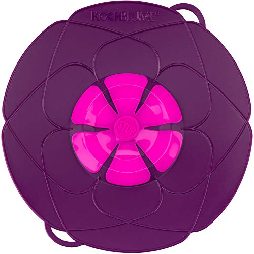Kochblume das Original, Silikon Überkochschutz für Töpfe und Pfannen, Mikrowellen-Deckel, Spritzschutz und Dampfgar-Aufsatz   Set mit Zipptasche in der pinken Box (lila, L   Topfgröße 14-24cm)