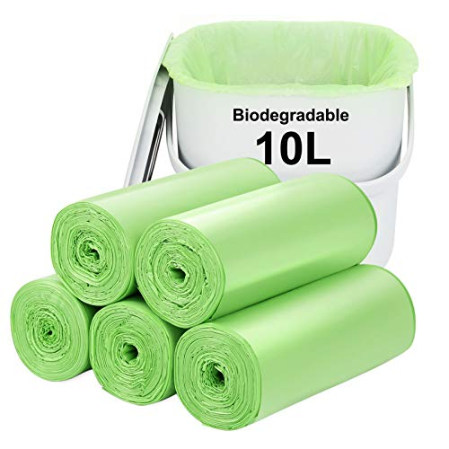 Biodegradable bin bags 120PCS, 10L small Bin Liner for Countertop Bin.Aievrgad 2.6 Gallon Trash/Garbage/rubbish Bags, 100% Recycled,Thick, degradable,compostable for Food/household/garden/kitchen
