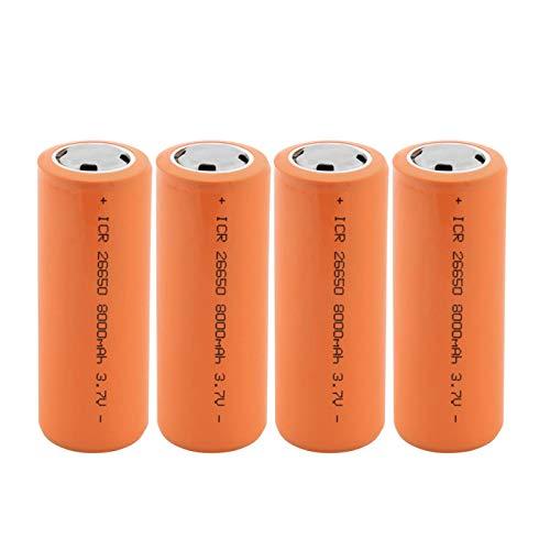 MGLQSB 26650 3.7v 8000mah Batería Recargable De Iones De Litio, BateríAs Seguras Litio De Uso Industrial Adecuado para Batería De Linterna 4PCS