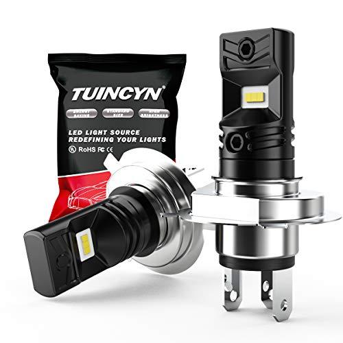 TUINCYN H4 Ampoules LED Anti-Brouillard 6500K 1600LM Blanc CSP Puces extrêmement Lumineuses DRL Feux diurnes de Rechange Lampe antibrouillard de Rechange 80W Haute Puissance 12V-24V DC (Pack de 2)