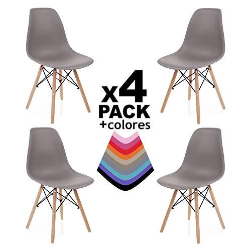duehome - Nordik - Pack 4 sillas, Silla de Comedor, Salon, Cocina o Escritorio, Patas Madera de Haya, Dimensiones: 47 x 56 x 81 cm de Altura (Marron)