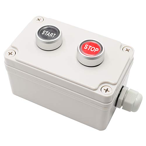 mxuteuk 1NC Stop, 1NO Start Red Black Sign Waterproof IP65 Momentary Push Button Switch 10A 600V IP67 with ABS IP67 Box Station Pushbutton Switches MX-Box-Start/Stop