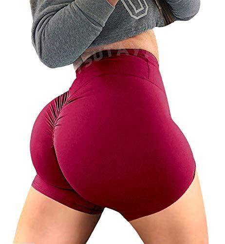 TSUTAYA Women Yoga Shorts Ruched Booty Sport Gym Workout Push up High Waist Beach Shorts Butt Lifting Hot Pants Burgundy M