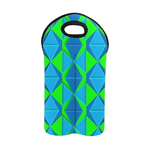 Wine Travel Bags Geometric 3D Aqua Lime Green Shapes Design Wine Bag Double Bottle Carrier Wine Bags for Travel Thick Neoprene Wine Bottle Holder Keeps Bottles Protected
