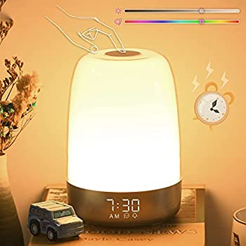 Touch Wake Up Night Light with Alarm Clock  Vicsoon Dimmable Warm White Small Bedside Lamp with Sleep Aid Snooze Timer RGB Color Ambient Nightstand Night for Kids,Bedroom Breastfeeding