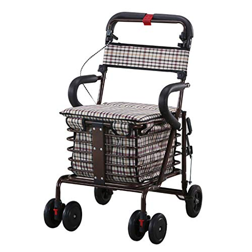 GWXTC Faltbarer Bollerwagen Alter Mann der tragbare Laufkatze faltet, Lebensmittel einkaufen Gehhilfe Ruhesitz Doppelradbremse Multifunktions-Einkaufswagen, Belastung: 100 kg (Color : A)