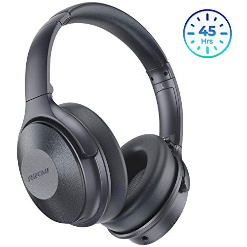 Mpow Active Noise Cancelling Headphones, Bluetooth Headphones Over Ear with 45H Playtime, Built-in Mic, Quick Charge, Wired/Wireless Headset for Travel, Online Class, Home Office, TV