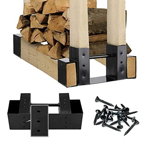 HEONITURE 2-Pack Firewood Log Storage Rack Bracket Kit With Screws and Drain Holes Fireplace Wood...