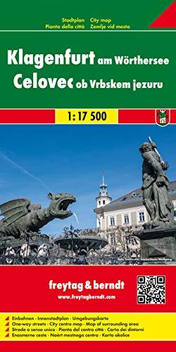 Klagenfurt am Wörthersee, Stadtplan 1:17.500: Einbahnen. Innenstadtplan. Umgebungskarte (freytag & berndt Stadtpläne)