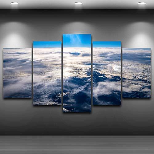 Arte de Pared Modular HD Imagen Impresa 5 Paneles Mar de Nubes Hermoso Paisaje Decoración del hogar Sala de Estar Lienzo Moderno