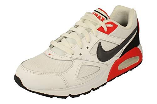Nike Air Max Ivo Mens Running Trainers CD1540 Sneakers Shoes (UK 9.5 US 10.5 EU 44.5, White Dark Grey Habanero red 100)