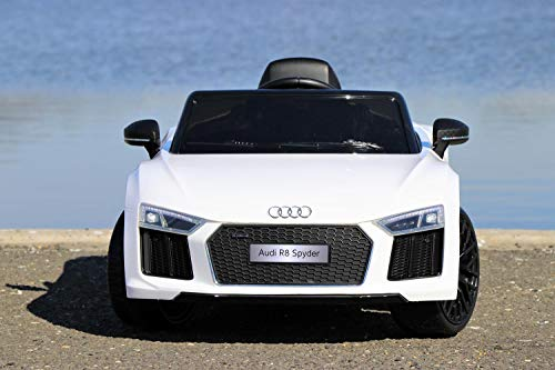 First Drive Audi R8 White 12v Kids Cars - Dual Motor Electric Power Ride On Car with Remote, MP3, Aux Cord, Led Headlights, and Premium Wheels