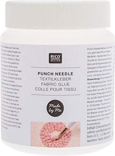 Rico Design Punch Needle Textilkleber Made in Germany - Stoffkleber für Baumwolle, Mischgewebe & Kunstfaser - Kleber für Punch Needle Arbeiten