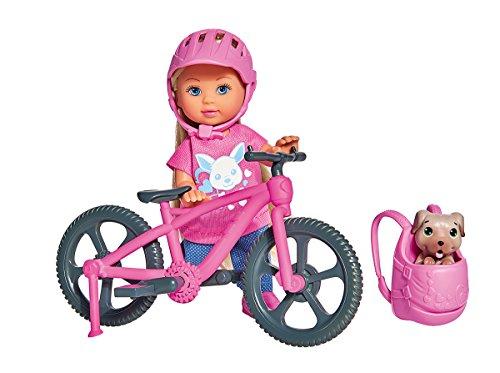 Simba 105733273 - Evi Love Ferienspaß Fahrrad / Puppe mit Fahrrad / Hund und Rucksack / Ankleidepuppe/ 12cm, für Kinder ab 3 Jahren