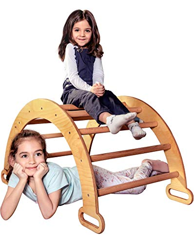 Goodevas Wooden Ladder Arch for Climbing - Montessori Gym for Toddlers - Kids Ladder Climber, Eco-Friendly Waldorf Rocker Aged 1-7 y.o
