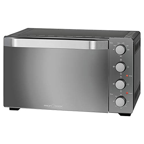 Profi Cook PC-MBG 1185 - Multihorno 4 en 1 (35 litros, incluye piedra para pizza y pincho giratorio), color negro