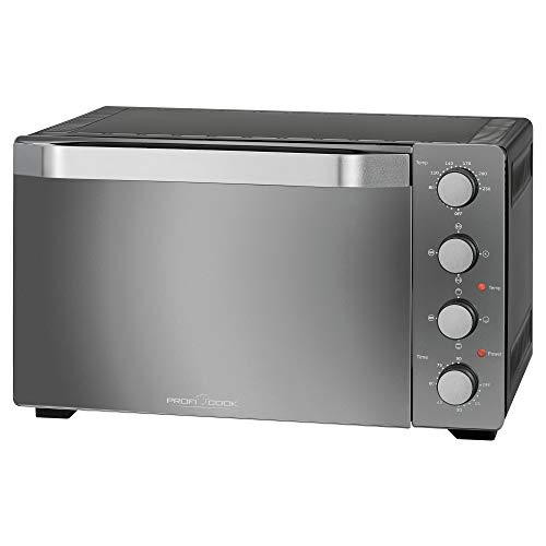 Profi Cook PC-MBG 1185 Four multifonction 4 en 1 avec espace de cuisson de 35 l, pierre à pizza et tournebroche, noir