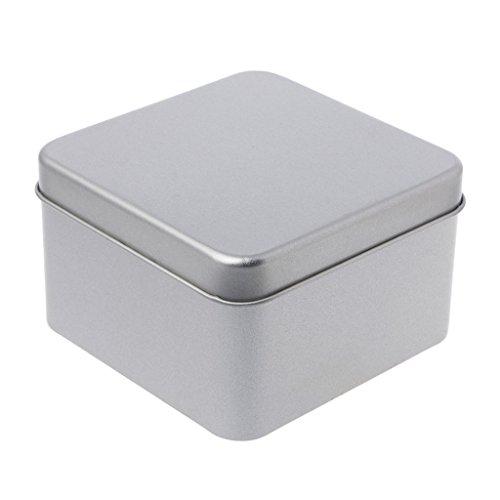 WANMEI Caja de almacenamiento de 9 x 9 cm de metal pequeño de la lata de plata de la caja de almacenamiento organizador para dinero moneda