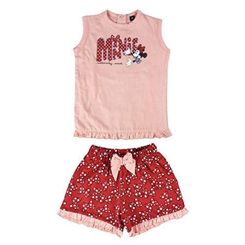 Cerdá Conjunto Ropa Bebe Niña Disney Minnie Mouse-Camiseta + Pantalon de Algodón-Color Rojo, 18 meses para Bebés