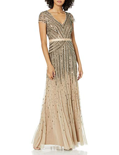 Adrianna Papell Damen Beaded V-Neck Gown Formales Abendkleid, Nude, 34